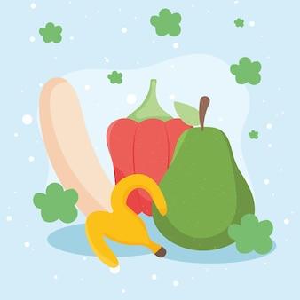 Banana and vegetables