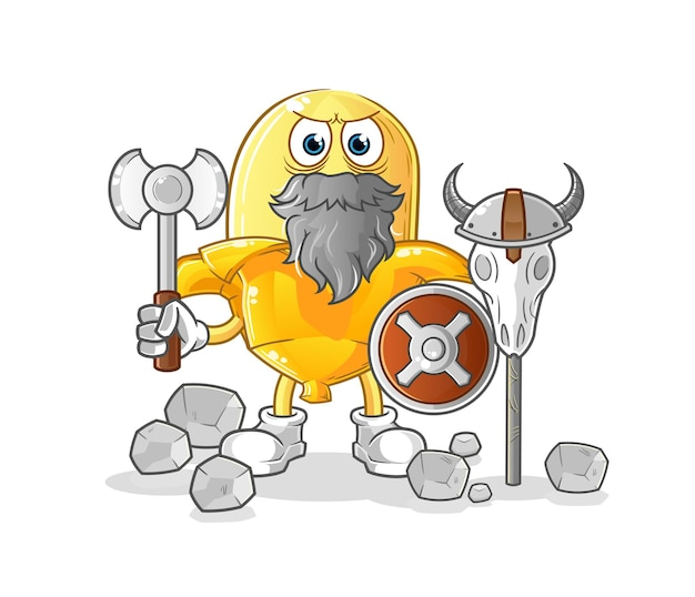 The banana viking with an ax illustration. character