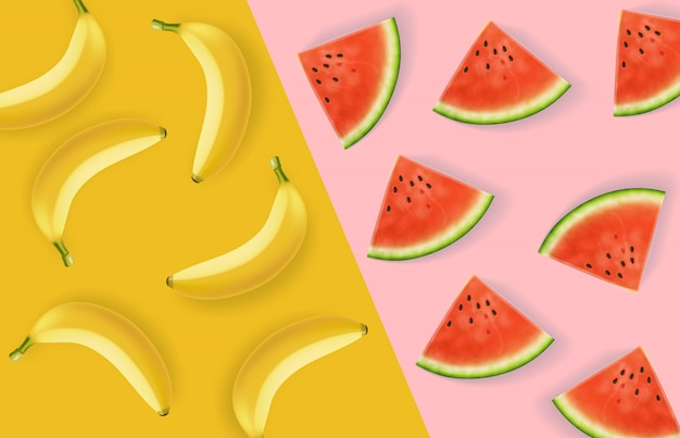 Banana and watermelon abstract pattern