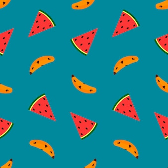 Banana and watermelon on blue