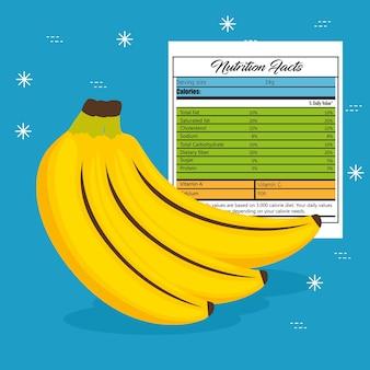 Банан с питанием факты векторной иллюстрации дизайн