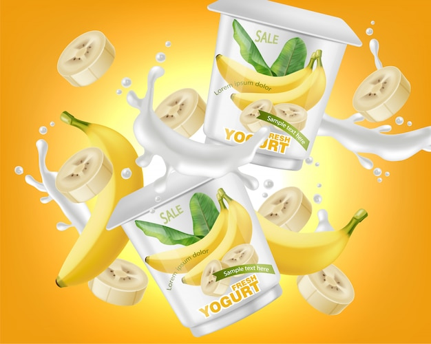 Banana yogurt package splash