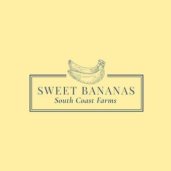 バナナの抽象的な記号、記号またはロゴのテンプレート。エレガントなレトロなタイポグラフィとフレームで手描きフルーツシルエットスケッチ。ヴィンテージラグジュアリーエンブレム。