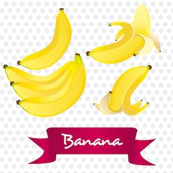 白い背景に隔てられた様々な方法でバナナ