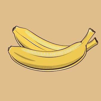 ビンテージスタイルのバナナ。色のベクトル図