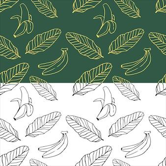 Бананы листья бесшовные векторные иллюстрации