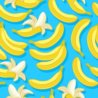 Bananas seamless pattern. tropic fruits background.