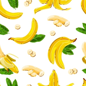 Bananas seamless pattern on white isolated background.