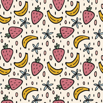 Bananas and strawberries seamless pattern