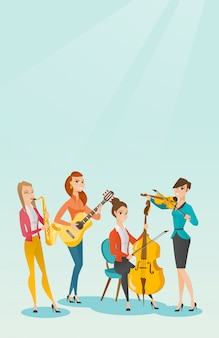 Band of musicians playing musical instruments.