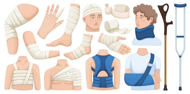 Bandage vector cartoon icon set . collection vector illustration band on white background.isolated cartoon illustration icon set of bandage for web design.