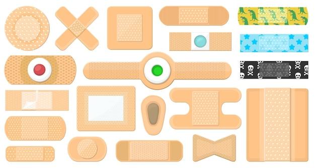 Установленные значки шаржа вектора повязки. коллекция векторных иллюстраций группа штукатурки на белом фоне. изолированные набор иконок иллюстрации шаржа повязки для веб-дизайна.