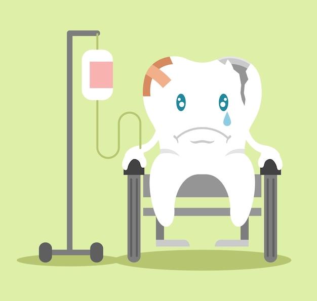 車椅子の平らなイラストに座っている包帯の悲しい歯