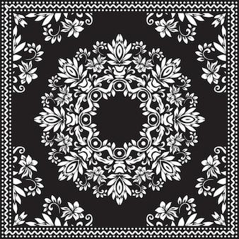 バンダナクリップアート黒と白。