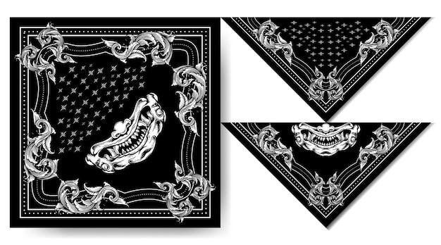 バンダナジャパンハーニャマスク白黒ヴィンテージデザイン
