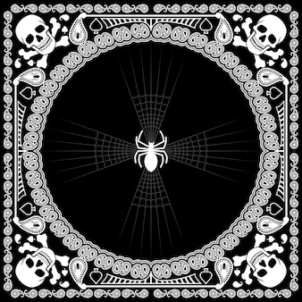 Bandana pattern skull and spider