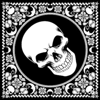 Bandana pattern with skull