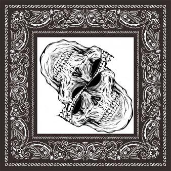 Bandana skull black white