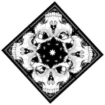 Bandana with skull hand drawing