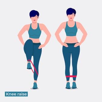 縞模様の膝は運動を上げる女性のトレーニングフィットネス有酸素運動と運動