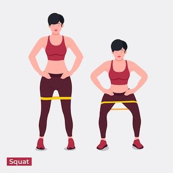縞模様のスクワット運動女性のトレーニングフィットネス有酸素運動と運動