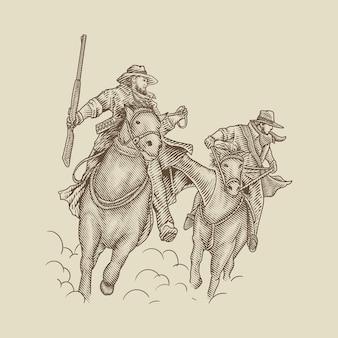 말을 탄 산적 카우보이