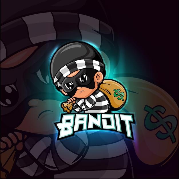 Бандит талисман киберспорт дизайн логотипа