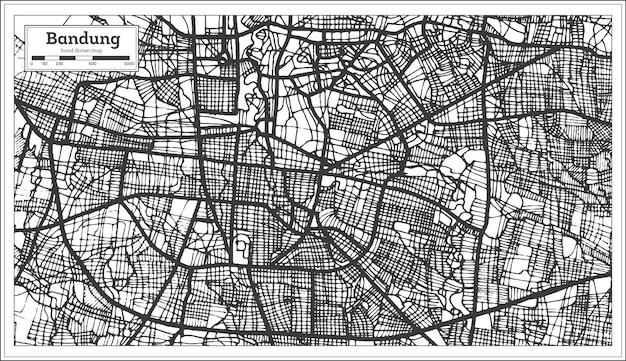 黒と白の色でバンドンインドネシアの都市地図。白地図。ベクトルイラスト。