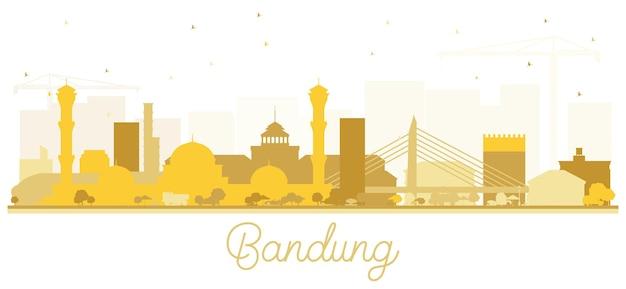 Силуэт горизонта города бандунг индонезия с золотыми зданиями, изолированные на белом вектор