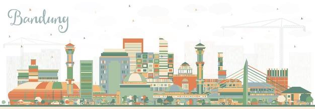 Горизонты города бандунг индонезия с цветными зданиями. векторные иллюстрации. деловые поездки и концепция туризма с исторической архитектурой. городской пейзаж бандунга с достопримечательностями.