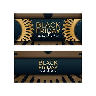 ギリシャの金のパターンで青のブラックフライデーのバナー