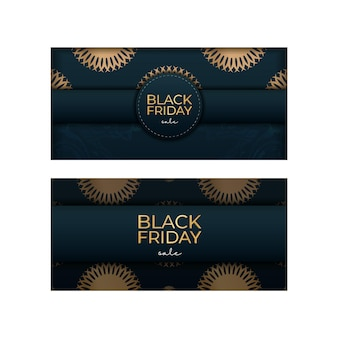 豪華な金の装飾が施されたブルーのバナー・フォー・ブラックフライデー