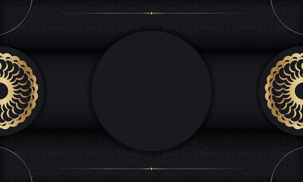 Baner in black with gold indian ornament