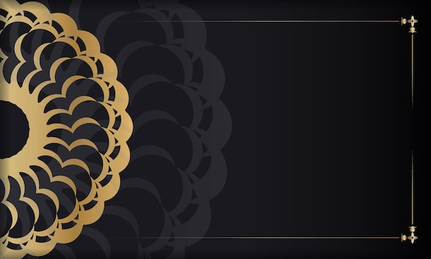 Baner in black with gold indian pattern