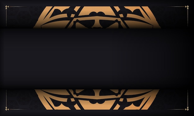 Baner in black with a luxurious orange pattern and a place under the logo