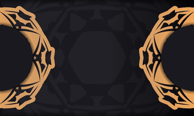 Baner in black with a luxurious orange pattern and a place for your logo