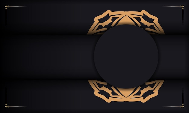Baner in black with a luxurious orange pattern and a place for your text