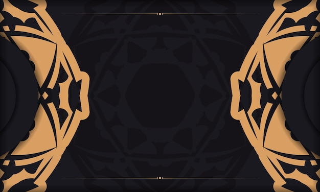 Baner in black with a luxurious orange pattern and space for your logo or text