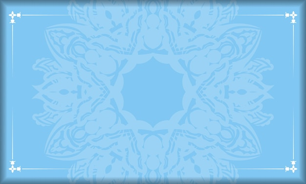 Baner of blue color with abstract white ornament for design under your text