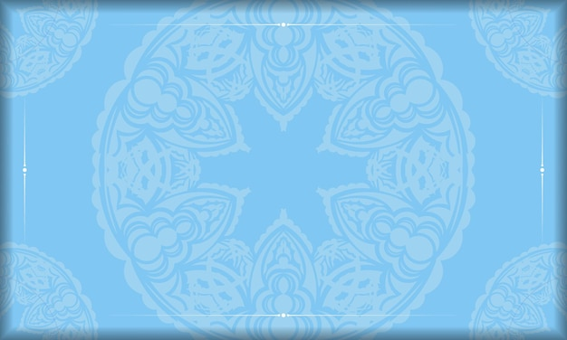 Baner of blue color with abstract white ornament for logo design