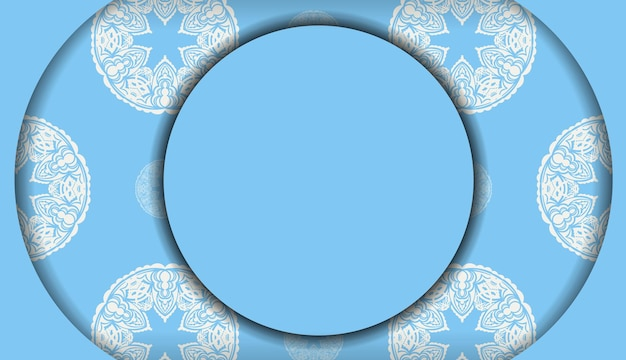 Baner of blue color with greek white ornament for design under the text
