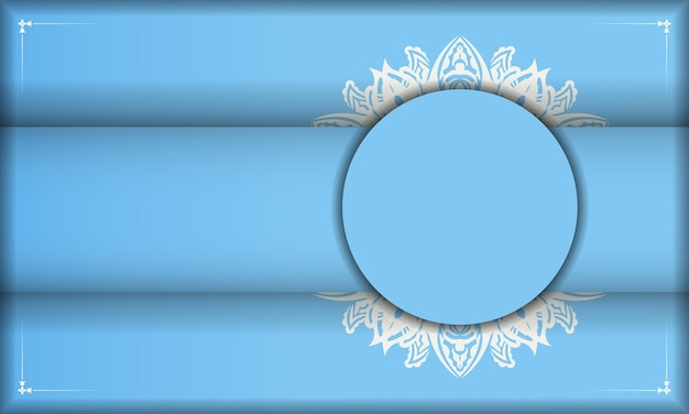Baner of blue color with greek white ornament for design under your text