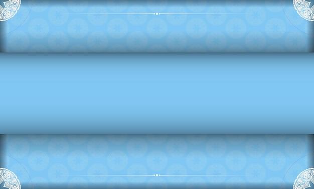 Baner of blue color with greek white ornaments for logo design