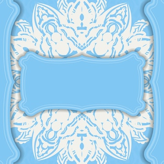 Baner of blue color with greek white pattern for design under your text