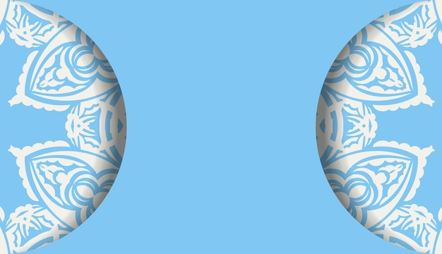 Baner of blue color with indian white ornament for design under the text
