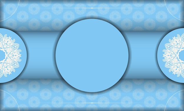 Baner of blue color with indian white ornament for design under your text