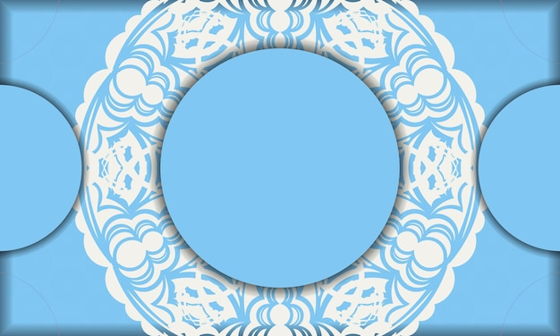 Baner of blue color with indian white ornaments for logo design