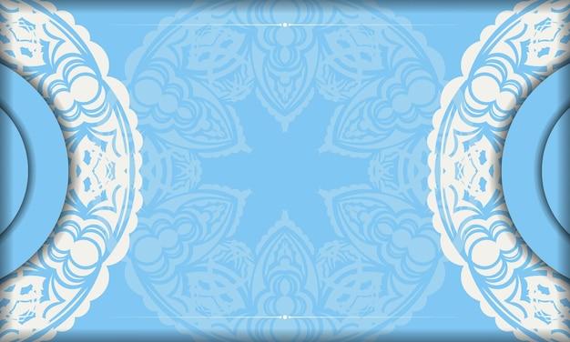 Baner of blue color with mandala white ornament for design under the logo