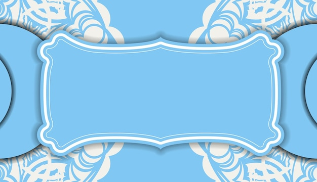Baner of blue color with mandala white ornament for design under the text