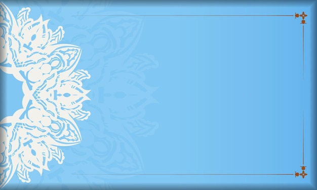 Baner of blue color with mandala white ornament for design under your text